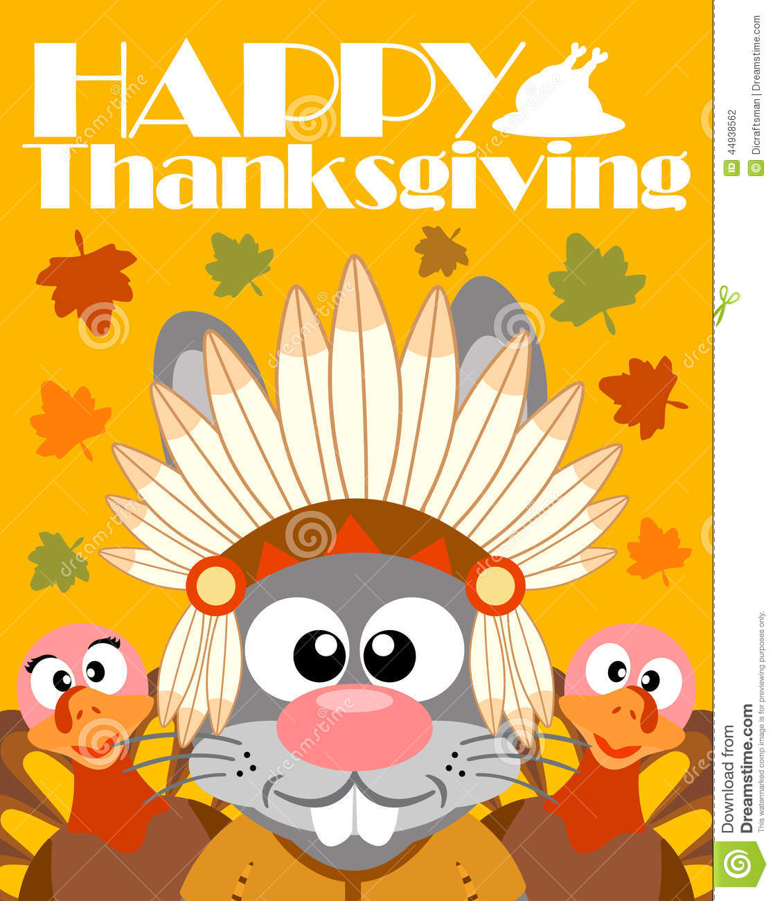 Cartoon Fall Wallpaper Happy Thanksgiving Day Background With Rabbit Indian Stock