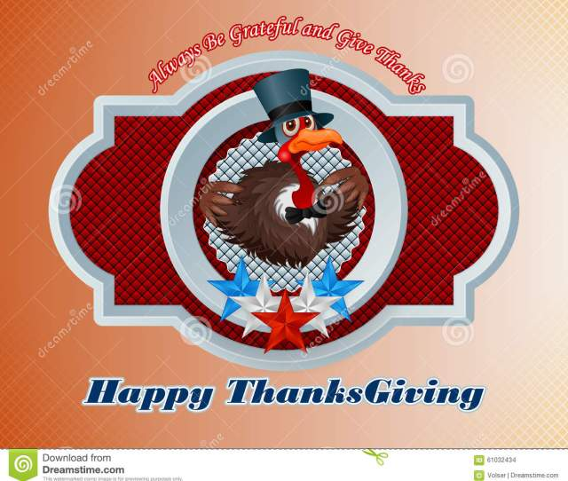 Happy Thanksgiving Message And Cartoon Of A Pompous Turkey Wearing A Top Hat And Bow