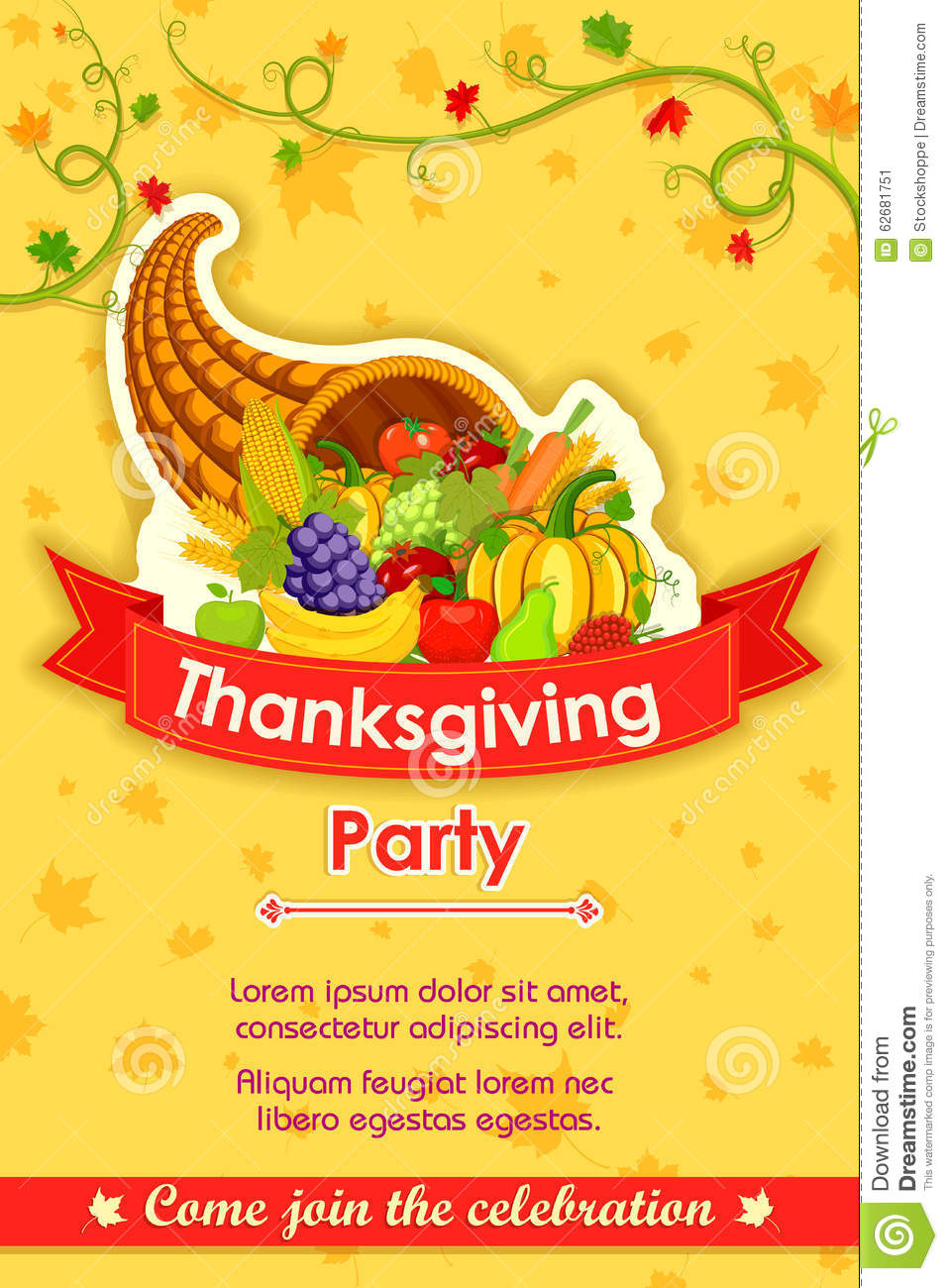Fall Turkey Wallpaper Happy Thanksgiving Party Invitation Background Stock