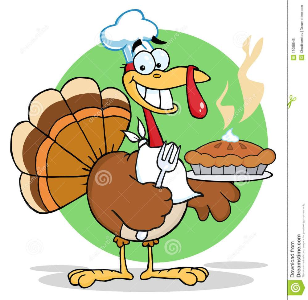 medium resolution of happy turkey chef with hot pumpkin pie