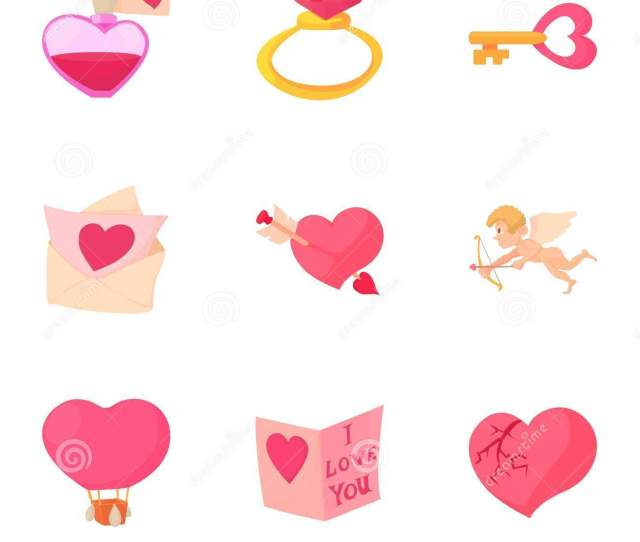 Happy Valentine Day Objects Icons Set