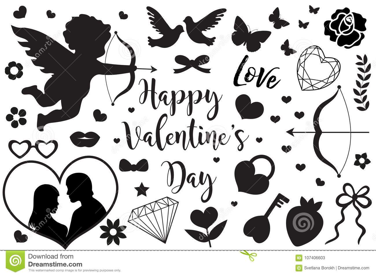 Happy Valentine S Day Set Of Icons Stencil Black