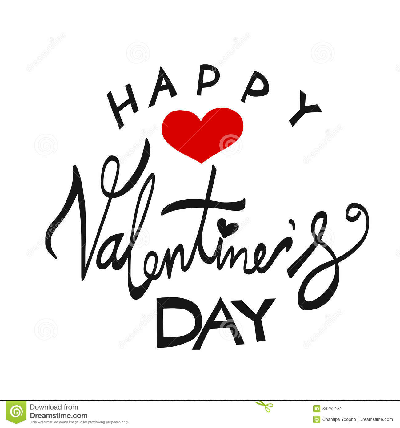 Happy Valentine S Day Word Lettering Illustration Stock