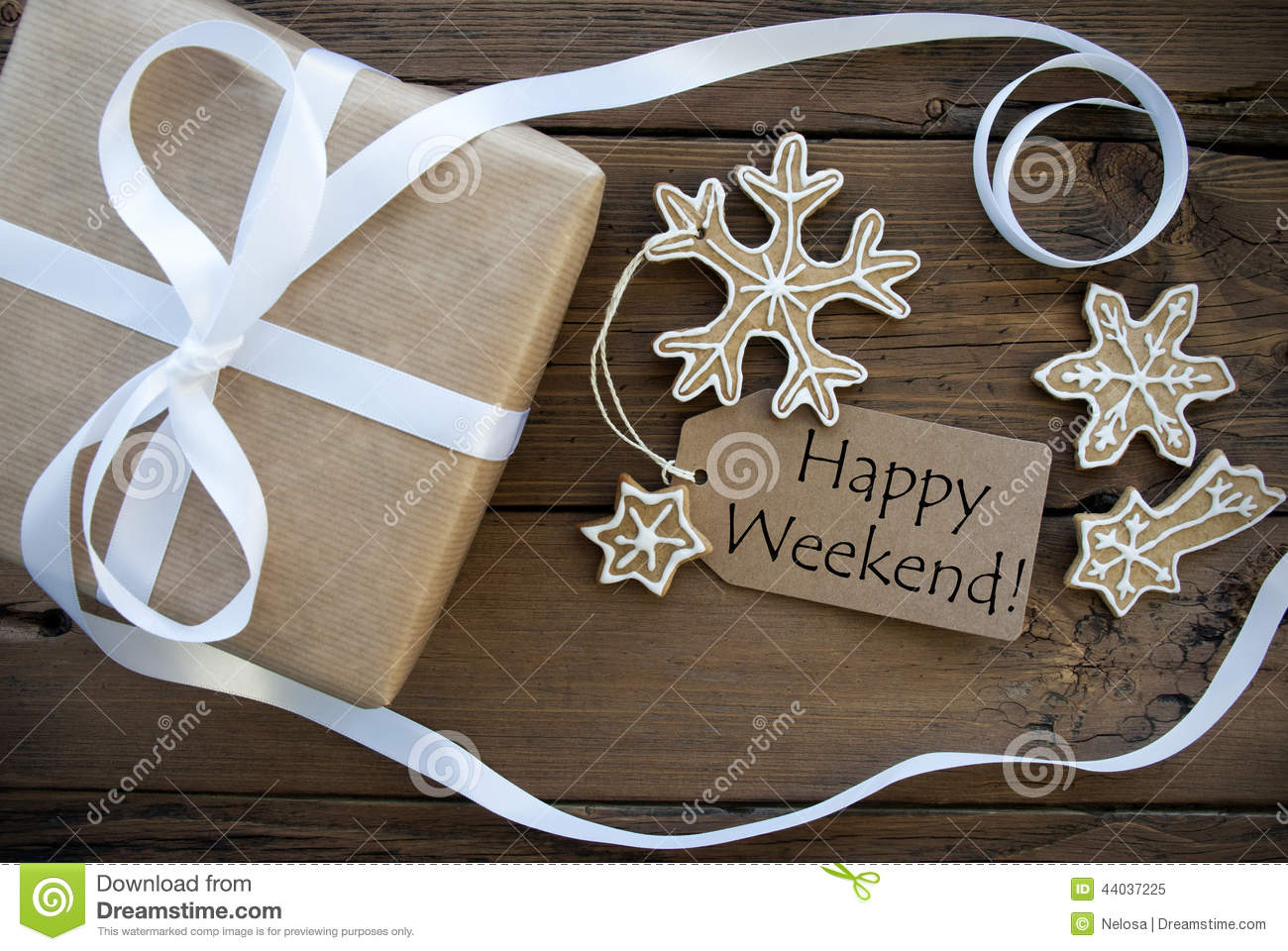 Happy Weekend Greetings With Winter Background Stock Image