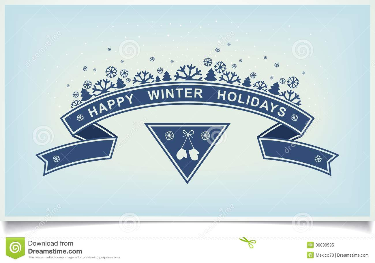 Happy Winter Holiday Greeting Design Element Stock Vector