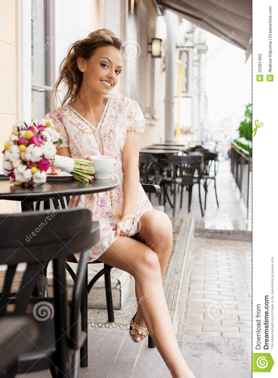 Happy woman in cafe stock image Image of person