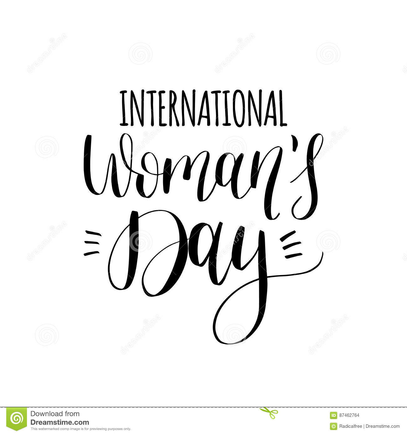 Happy Woman`s Day Handwritten Lettering Card On White