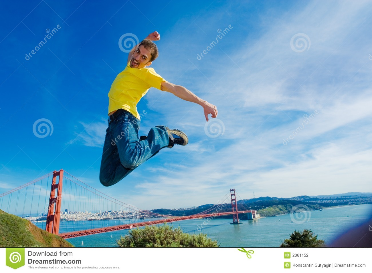 Girl By Beach Wallpaper Sqaure Happy Young Man Jumping High In The Air Stock Photography
