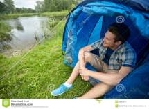 Young Man Camping Royalty-free Stock Cartoondealer