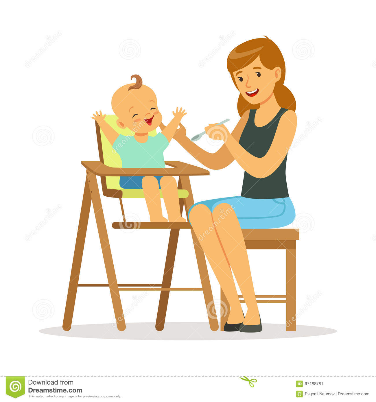 Girl High Chairs Highchair Stock Illustrations 205 Highchair Stock