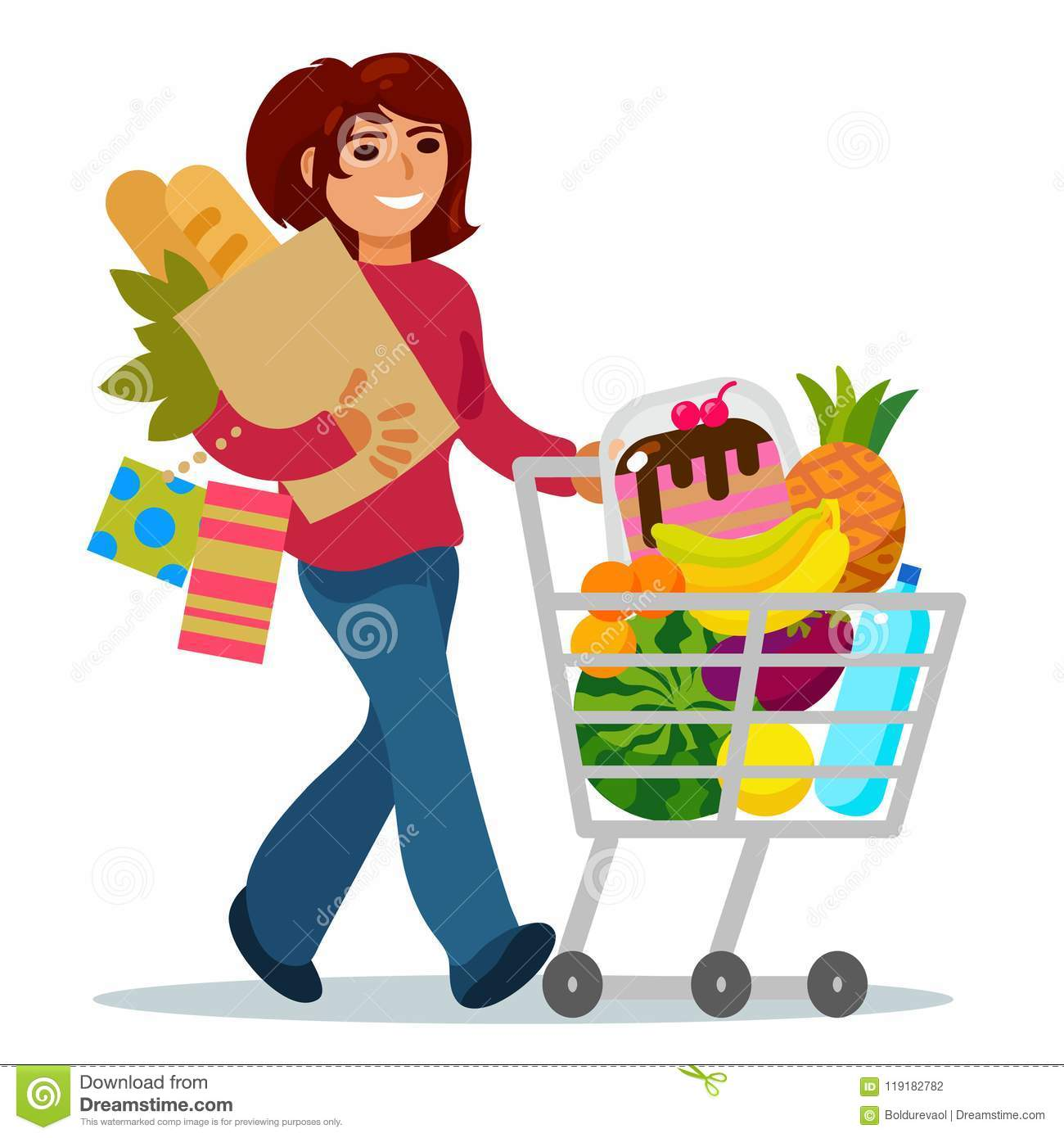Woman With A Shopping Cart Buying Food Stock Vector