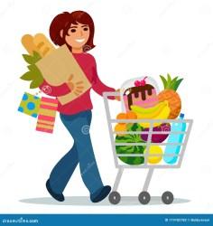 Girl Grocery Shopping Cartoon