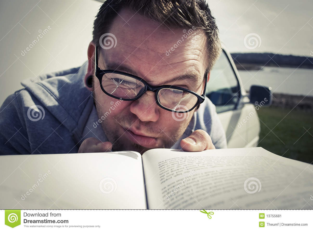 Hard Reading Stock Image