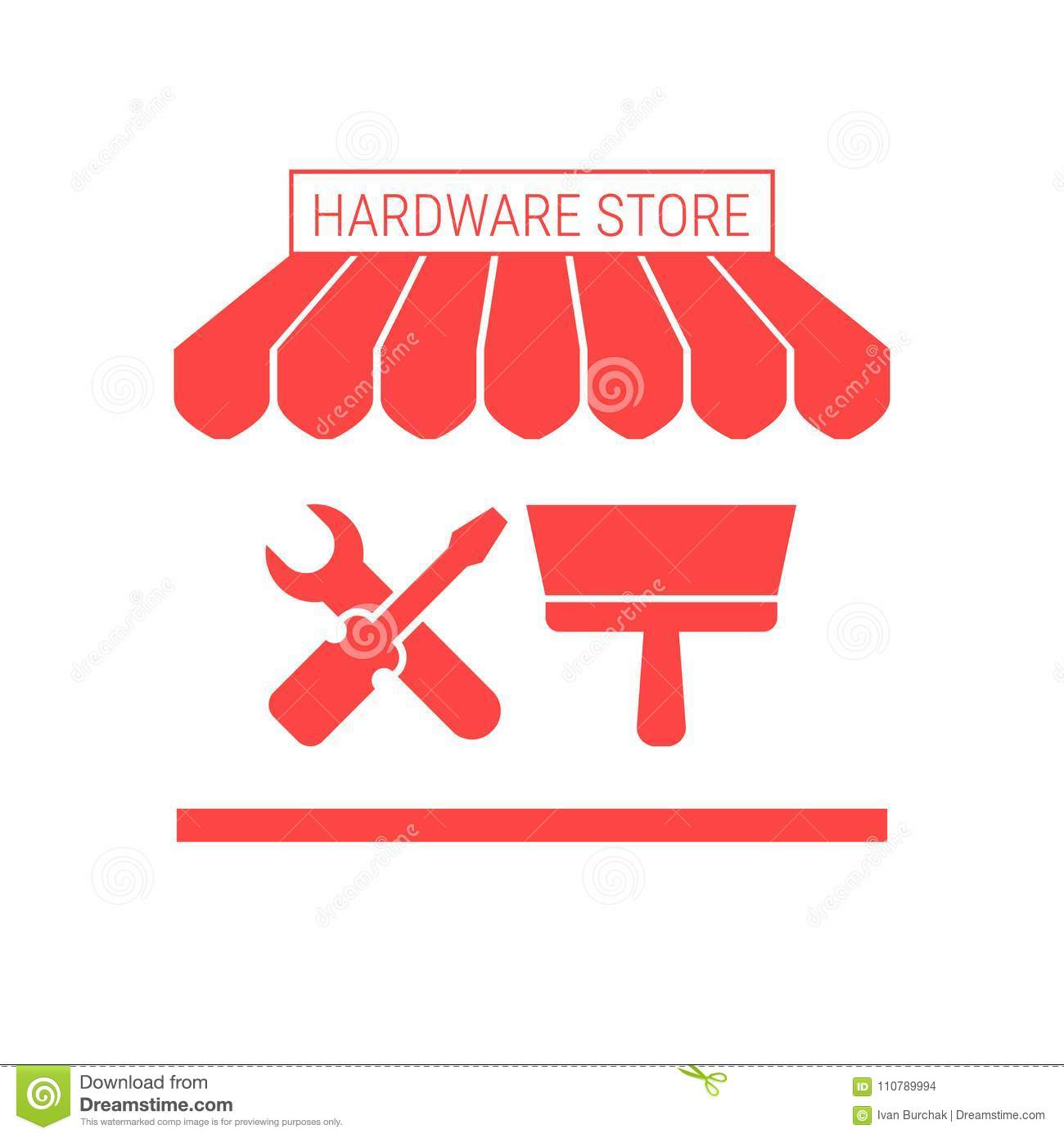 Hardware Store Single Flat Icon Striped Awning And Signboard Stock Vector