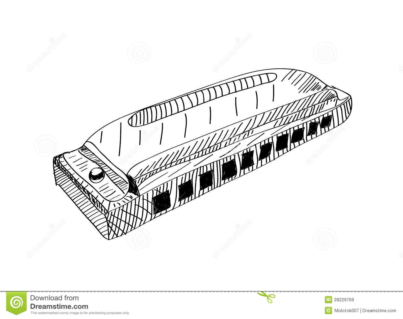 Harmonica In Black And White Lines Royalty Free Stock