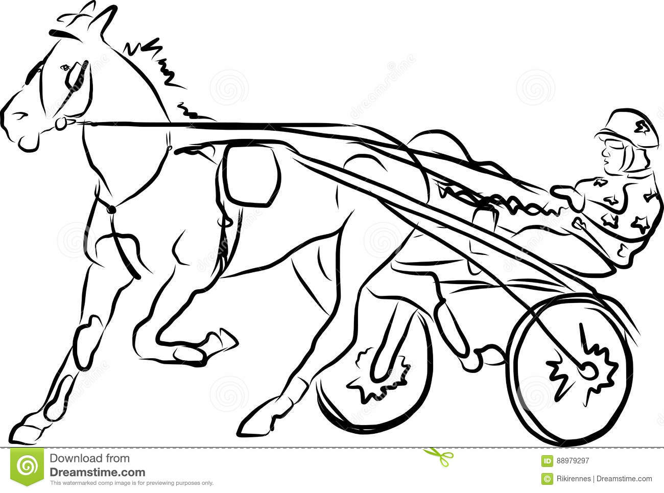 Harness Race Horses Stock Image Illustration Of Leading