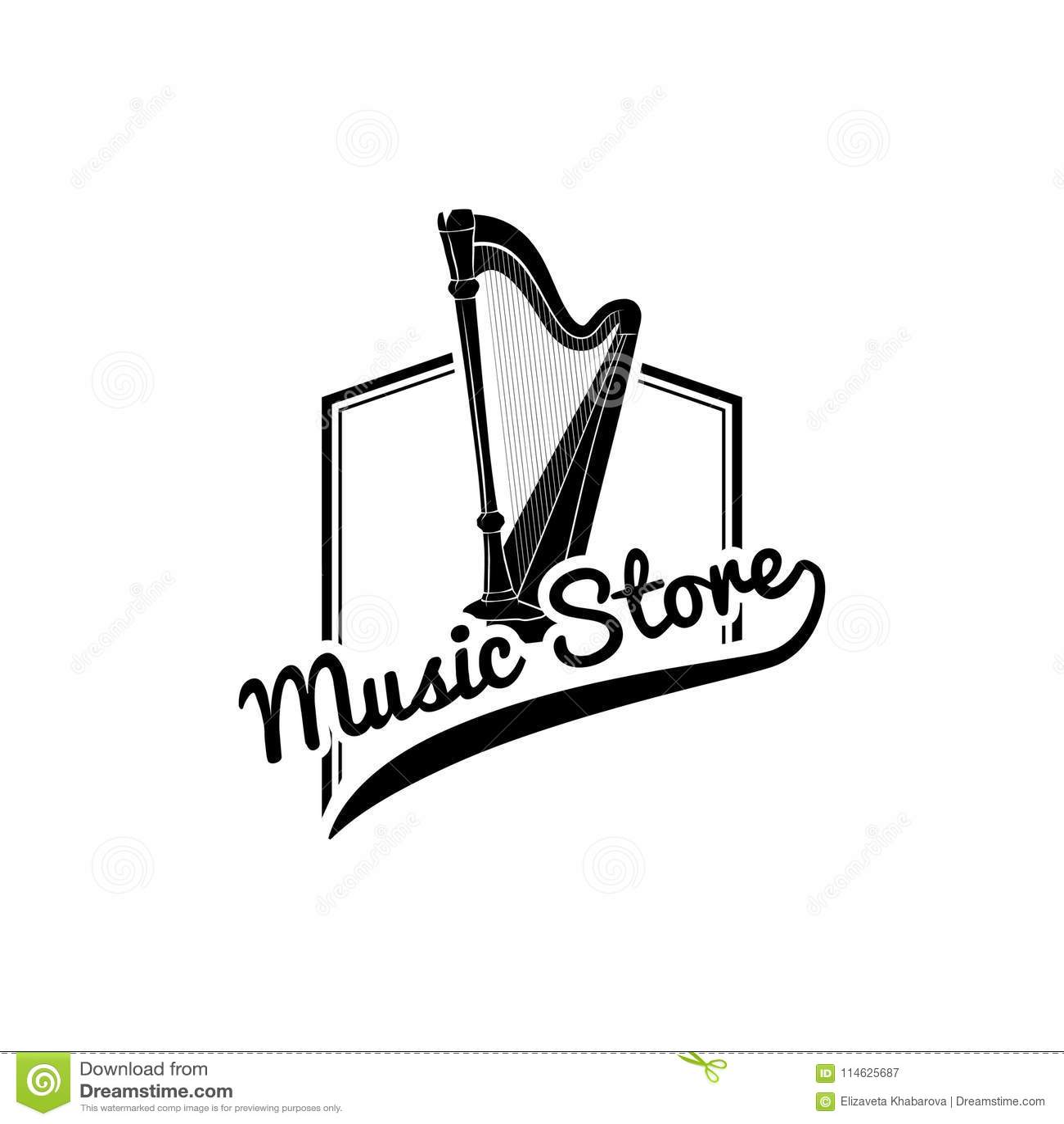 Harp Icon Music Store Logo Label Emblem Musical