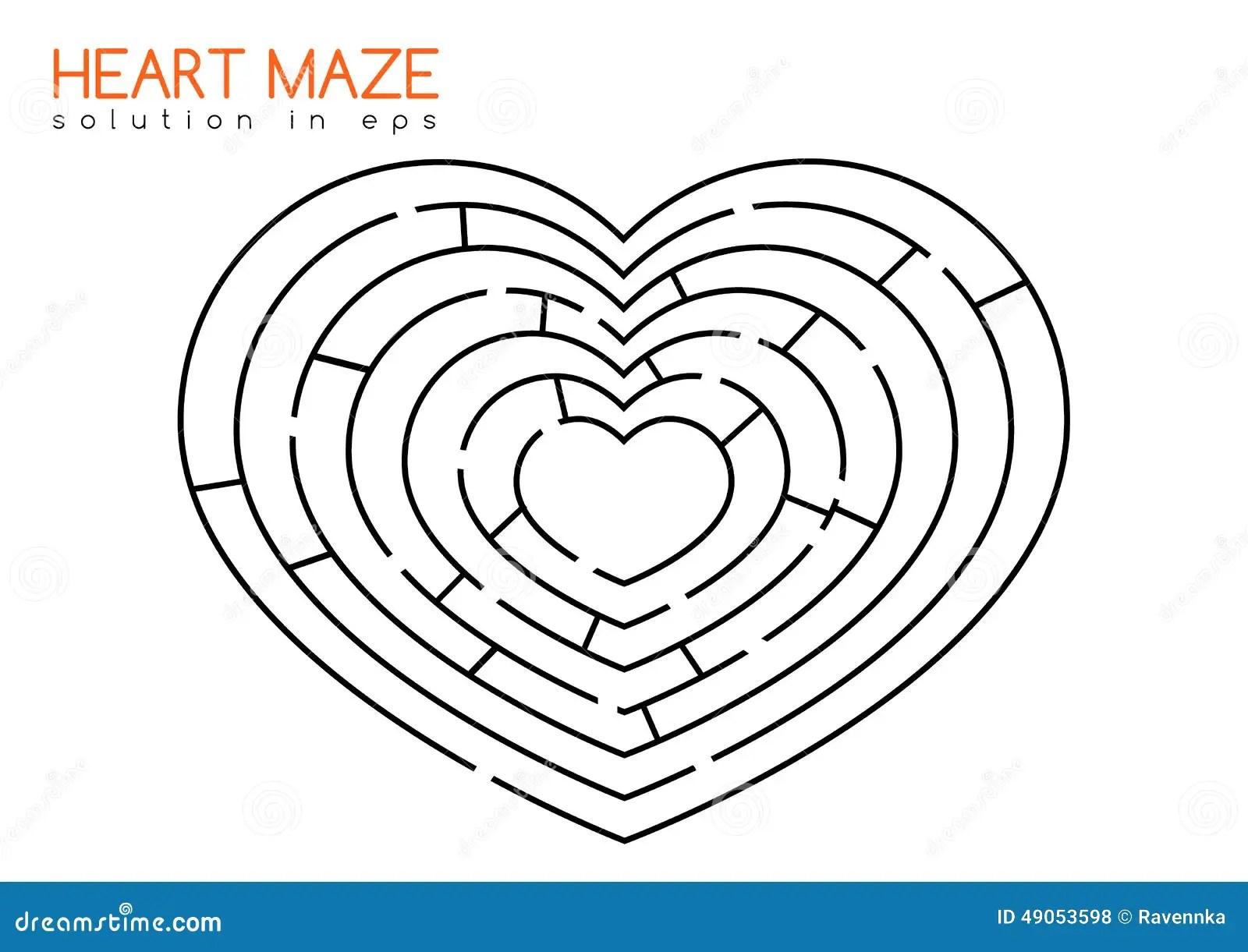 Hartlabyrint Met Oplossing Vector Illustratie Illustratie