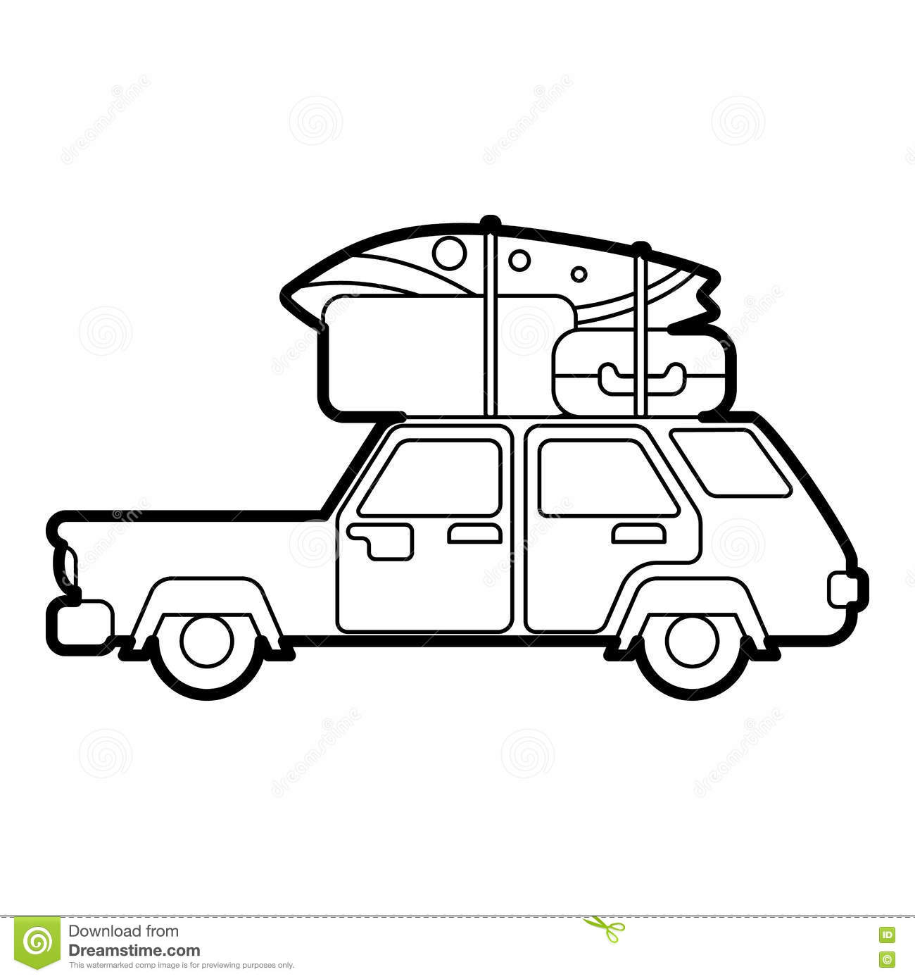 Hatchback Car With Cargo Luggage Icon Stock Vector