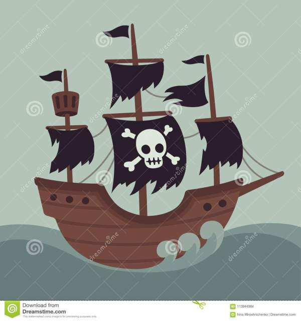 Scary haunted pirate ship stock vector Illustration of