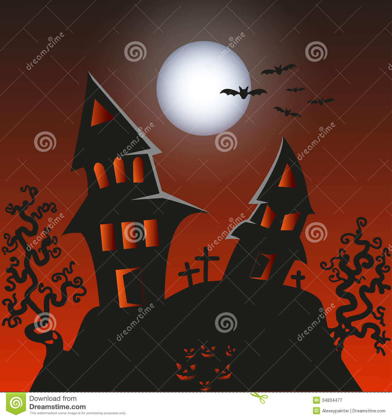 Haunted Monster House  Halloween Background Vect Stock Image  Image of sinister spook 34834477