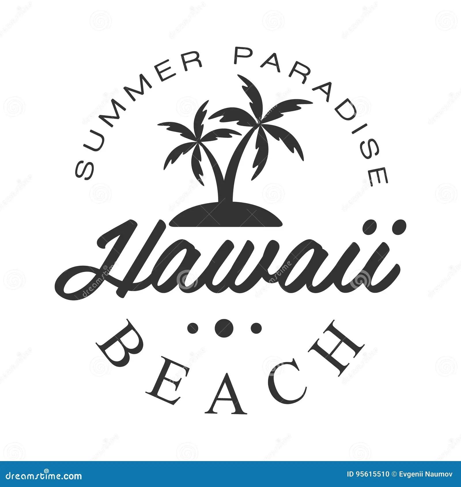 Hawaii Beach Summer Paradise Logo Template Black And