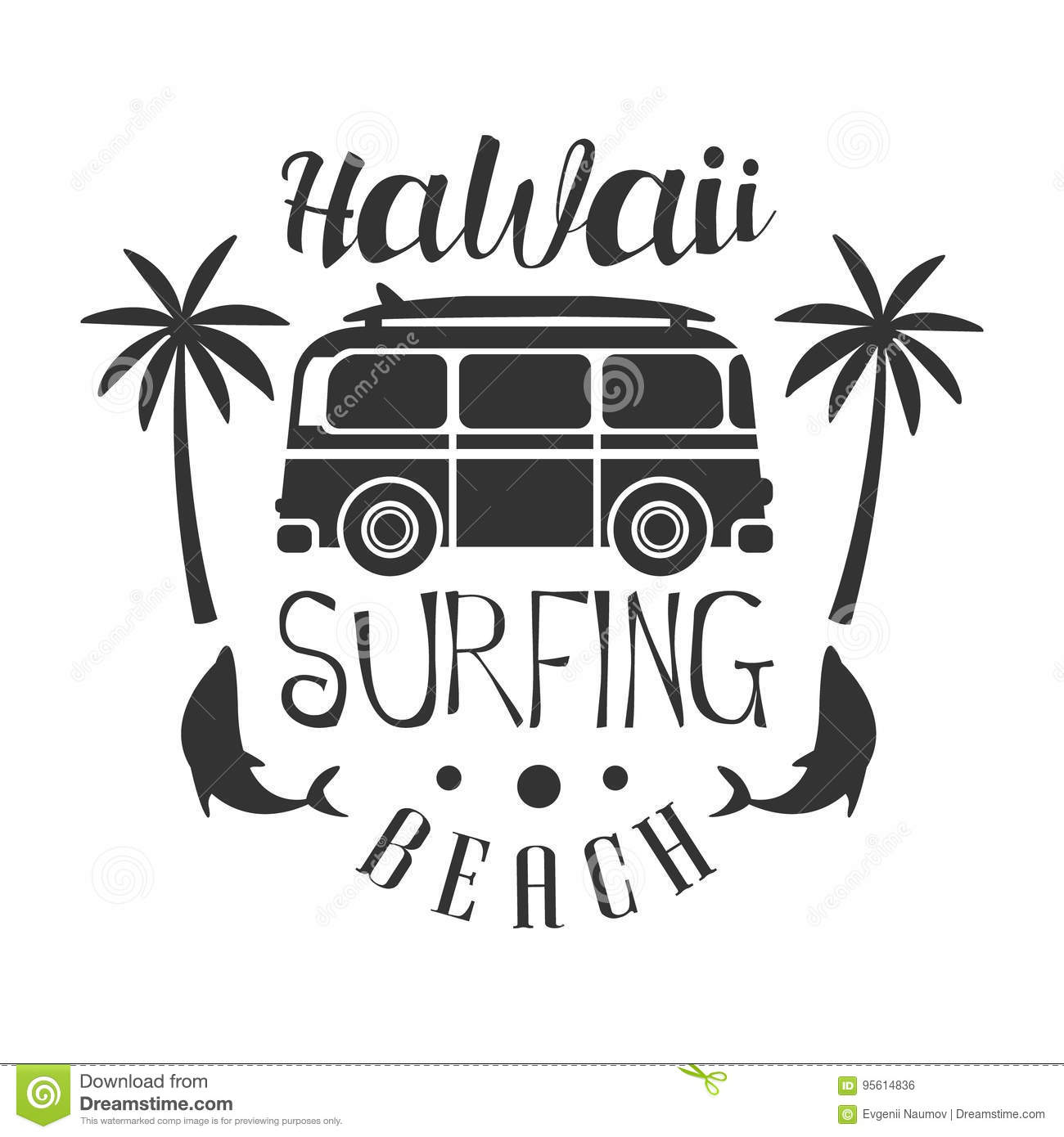 Hawaii Beach Surfing Logo Template Black And White