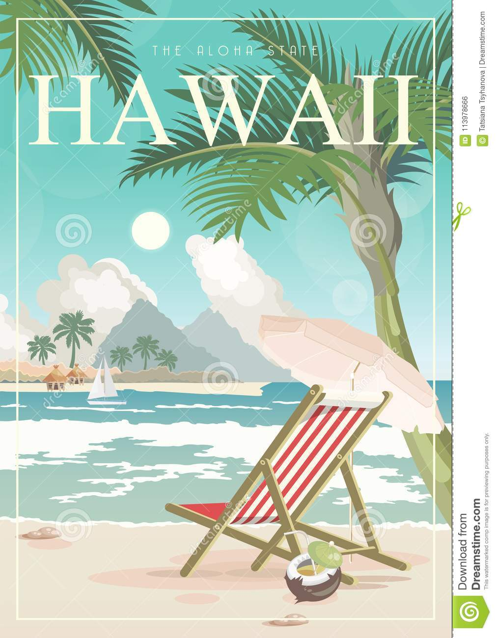 https www dreamstime com hawaii vector travel illustration summer template beach resort sunny vacations retro style colorful vintage poster image113978666