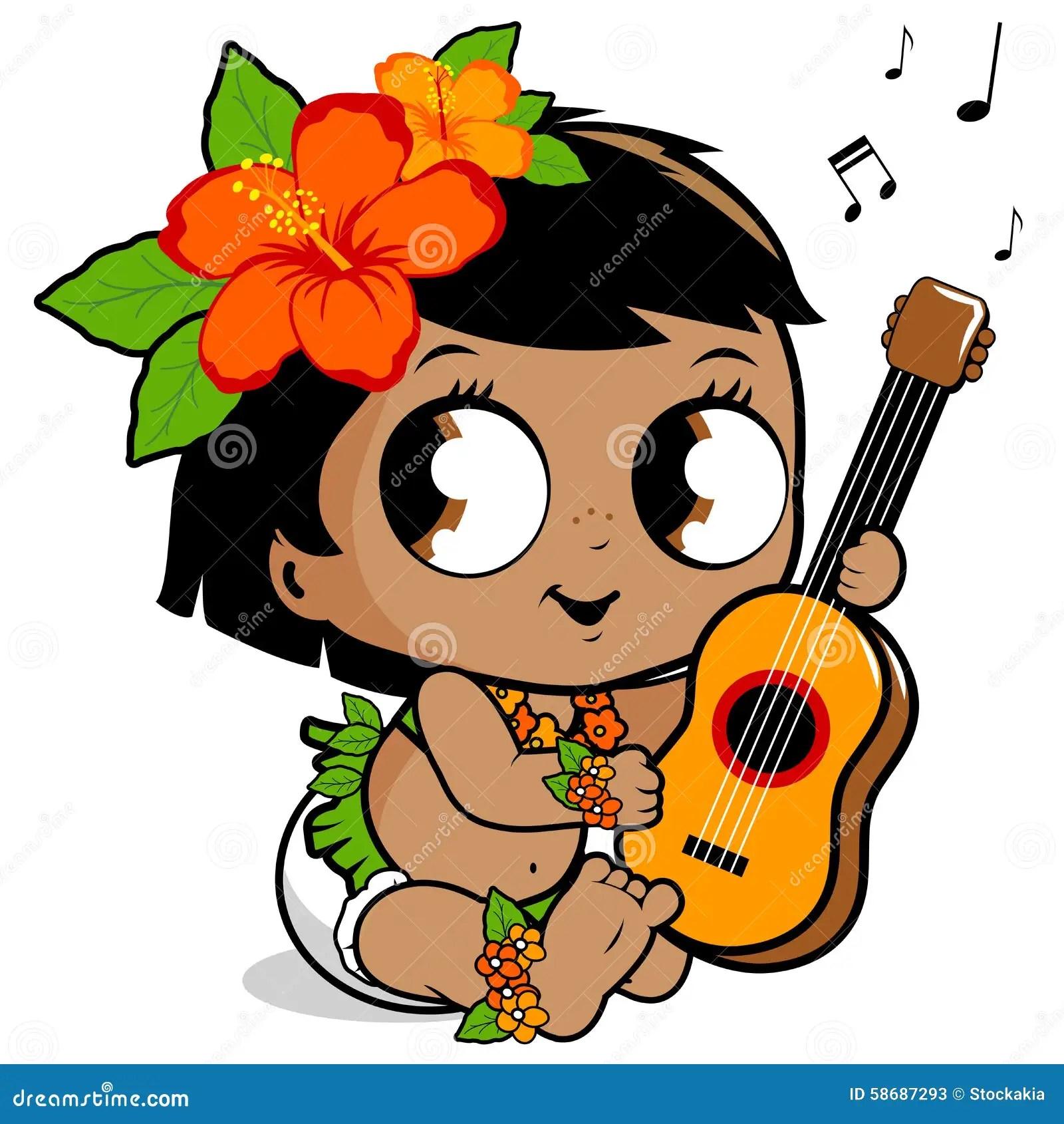 Cute Ukulele Wallpaper Hawaiian Baby Girl Playing The Ukulele Stock Vector