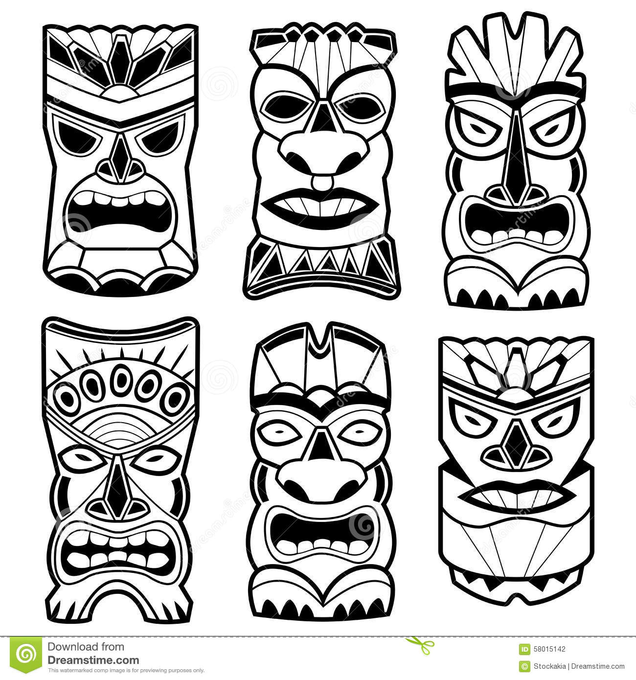 Hawaiian Tiki Statue Masks Black And White Set Stock