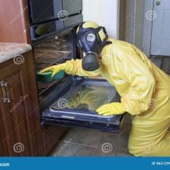 Kitchen Ventilator Nija Haz席子衣服清洁烤箱的妇女库存照片 图片包括有人工呼吸机 维护 女性 戴着黄色haz席子制服和防毒面具在膝盖的妇女清洗烤箱在厨房里