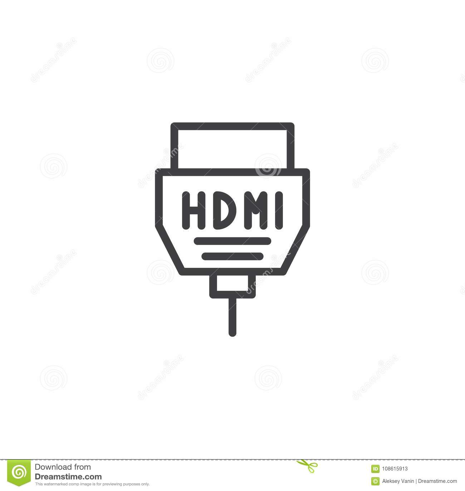 HDMI cable line icon stock vector. Illustration of design
