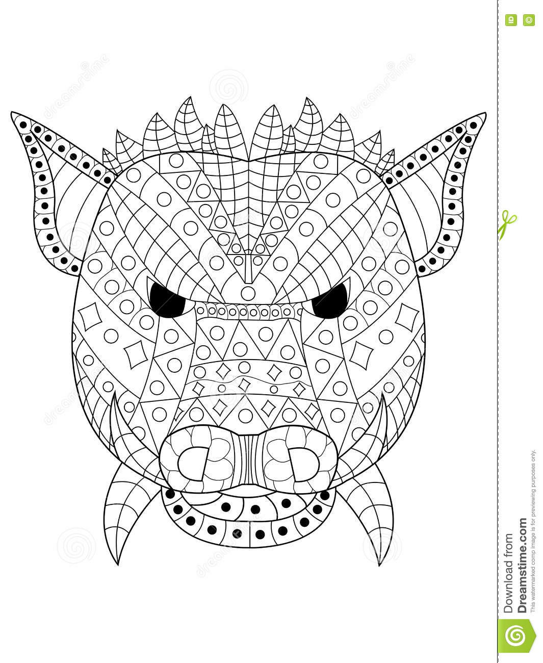 The Head Wild Boar Coloring Vector For Adults Stock Vector