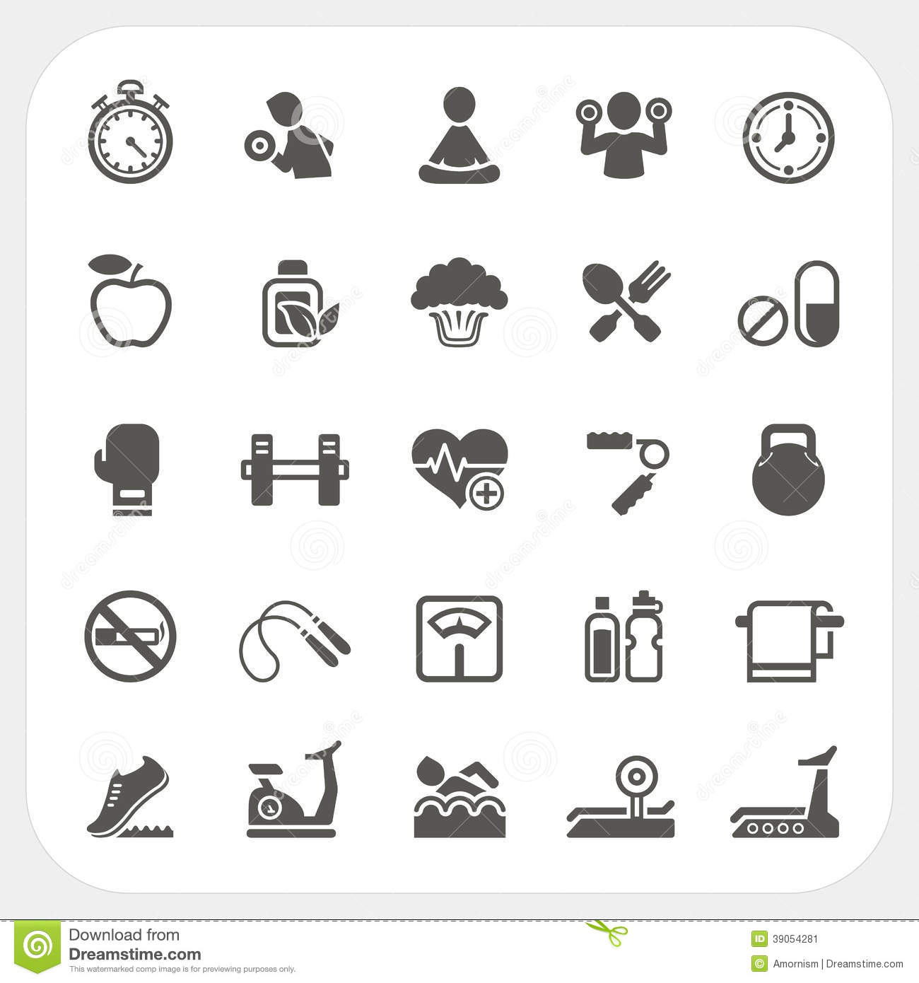 Health And Fitness Icons Set Cartoon Vector