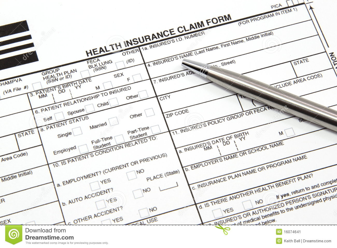 Health Insurance Claim Form With Silver Pen Stock Image