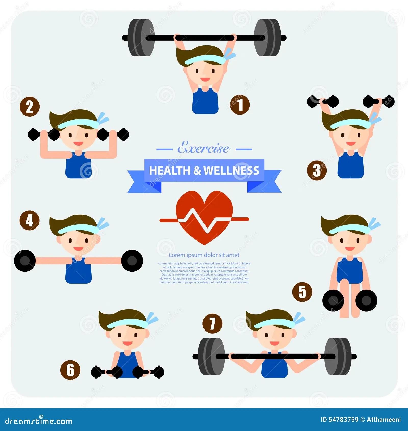 Health And Wellness Illustration Weight Training Stock