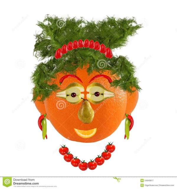 Healthy Eating. Funny Woman Face Fruits And Vegetables Stock - 54840817