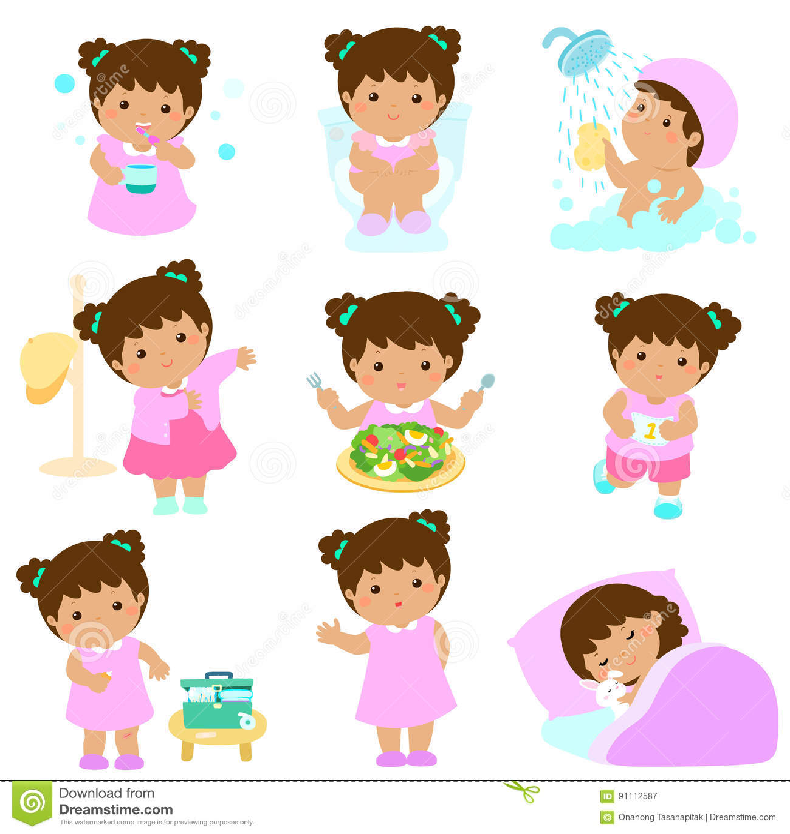 Healthy Hygiene For Girl Cartoon Stock Vector