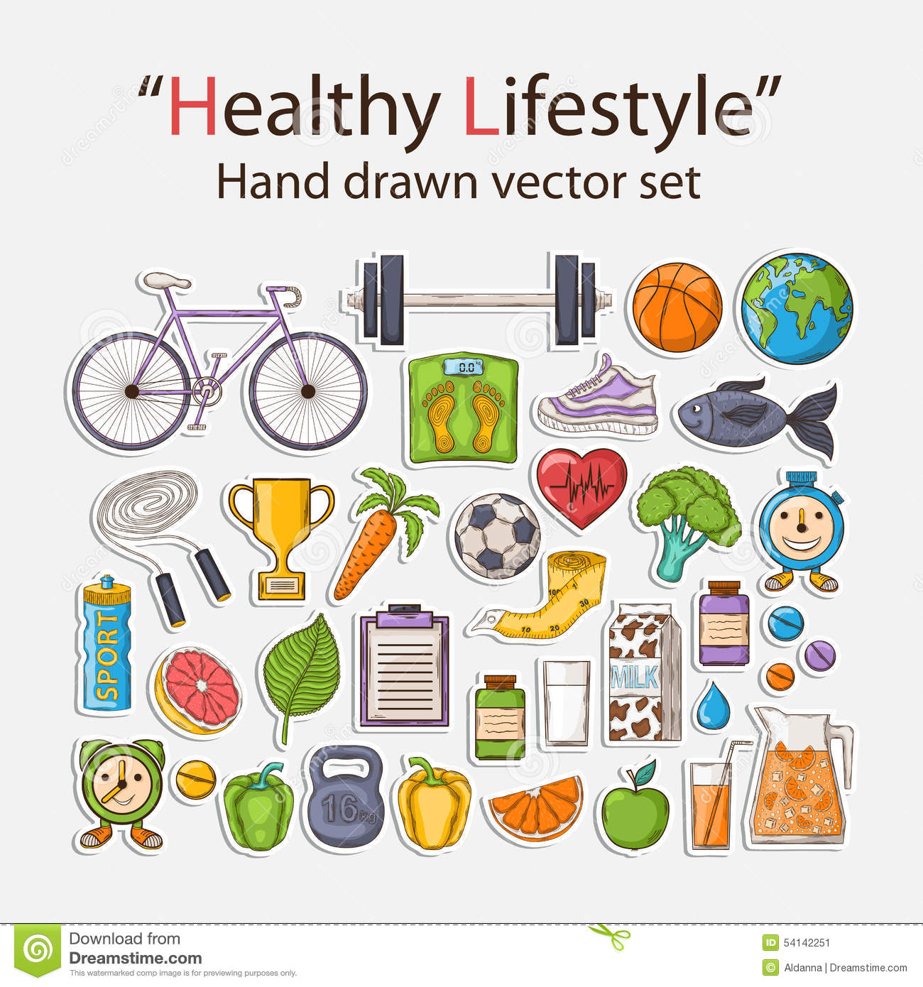 Healthy Lifestyle Sticker Set Stock Vector