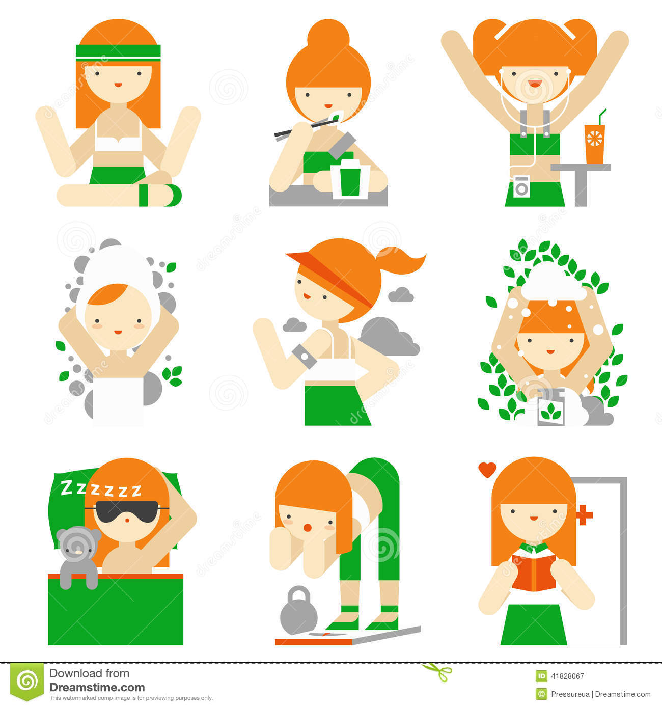 Healthy Lifestyle And Wellness Flat Icons Stock Vector