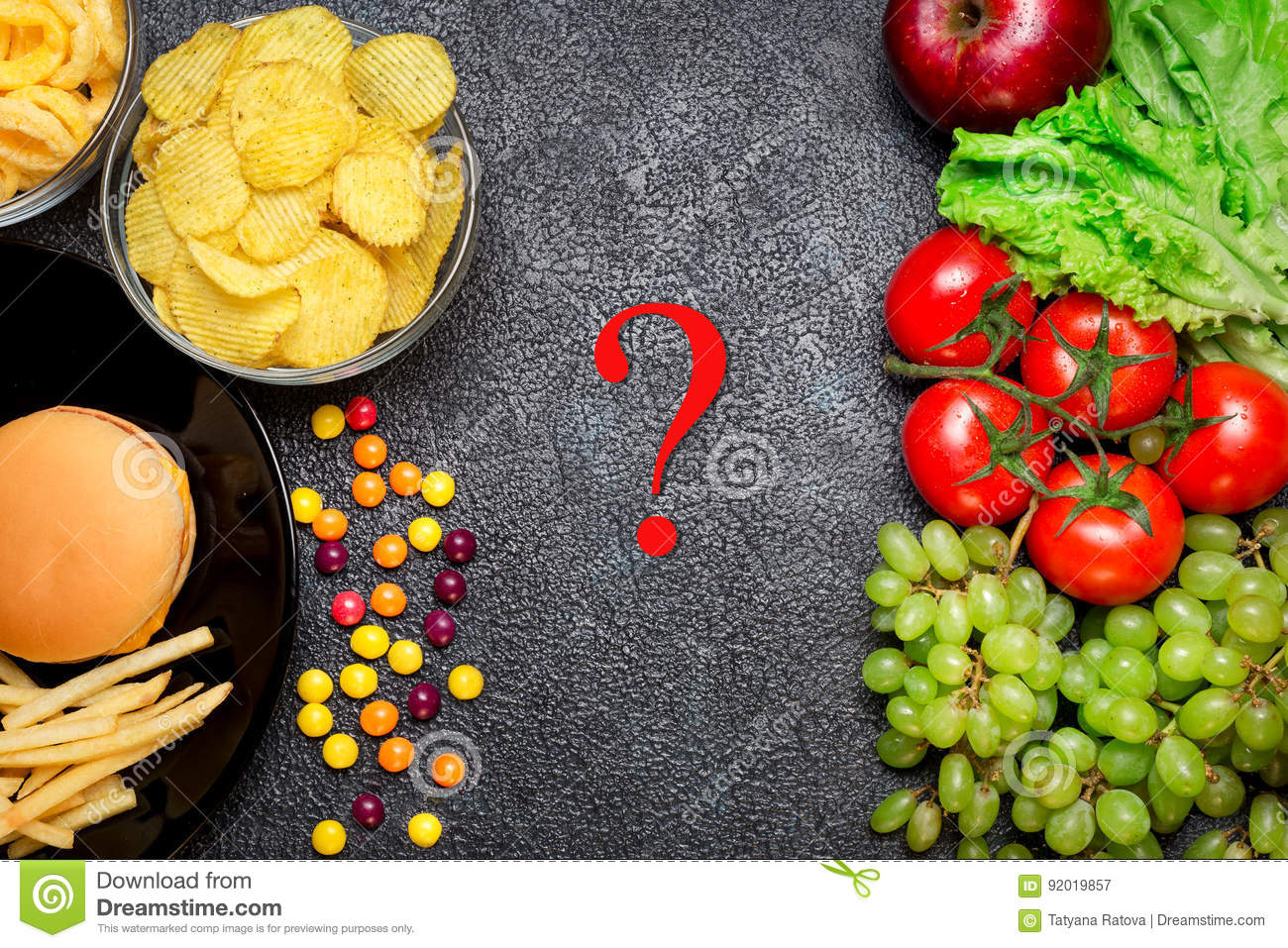 Healthy Nutrition Concept Fruits And Vegetables Vs