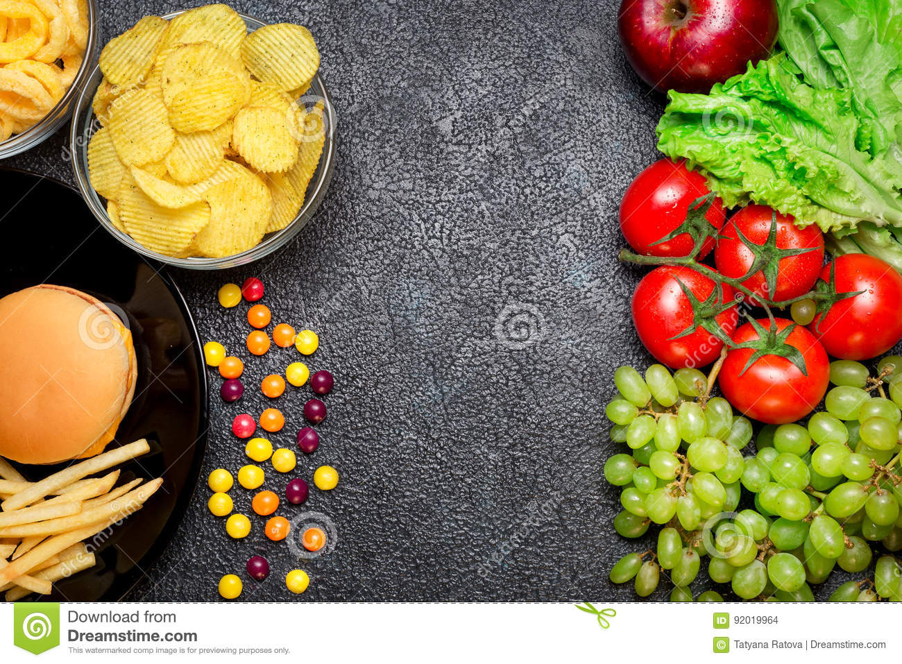 Healthy Nutrition Concept Fruits And Vegetables Vs Unhealthy Fa Stock Photo