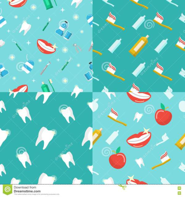 Healthy Teeth Dental Seamless Pattern Set With Smile And