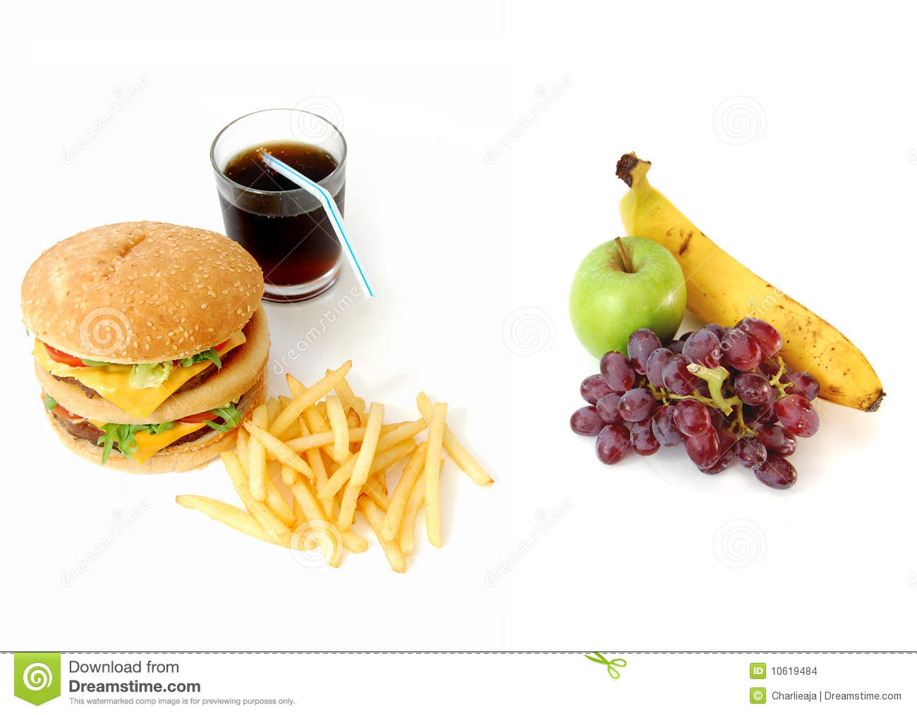 Healthy Or Unhealthy Food Stock Photo Image Of Choice