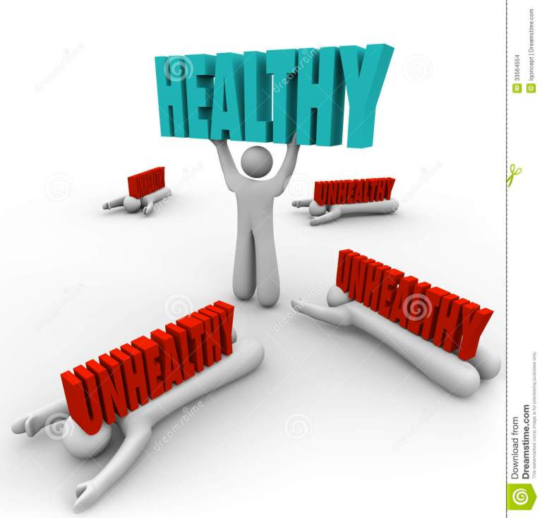 Healthy Vs Unhealthy One Person Good Health Fitness Stock Images Image 33564554