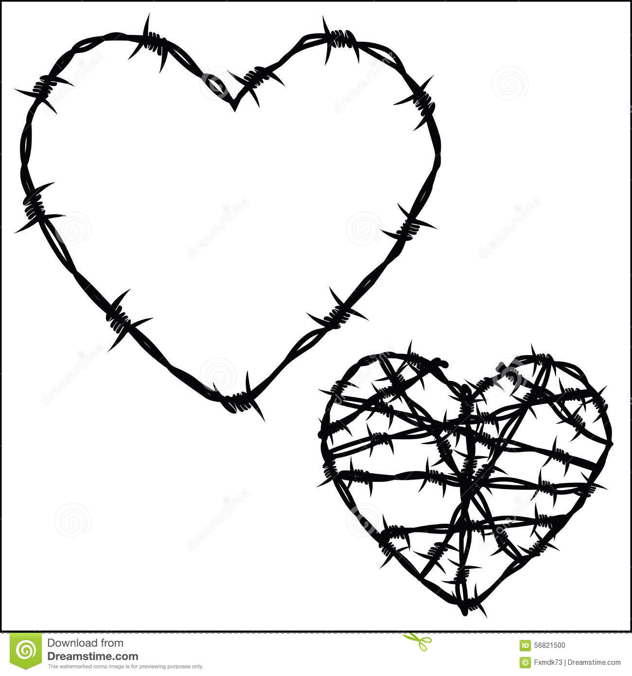 Heart With Barb Wire Drawing Coloring Pages