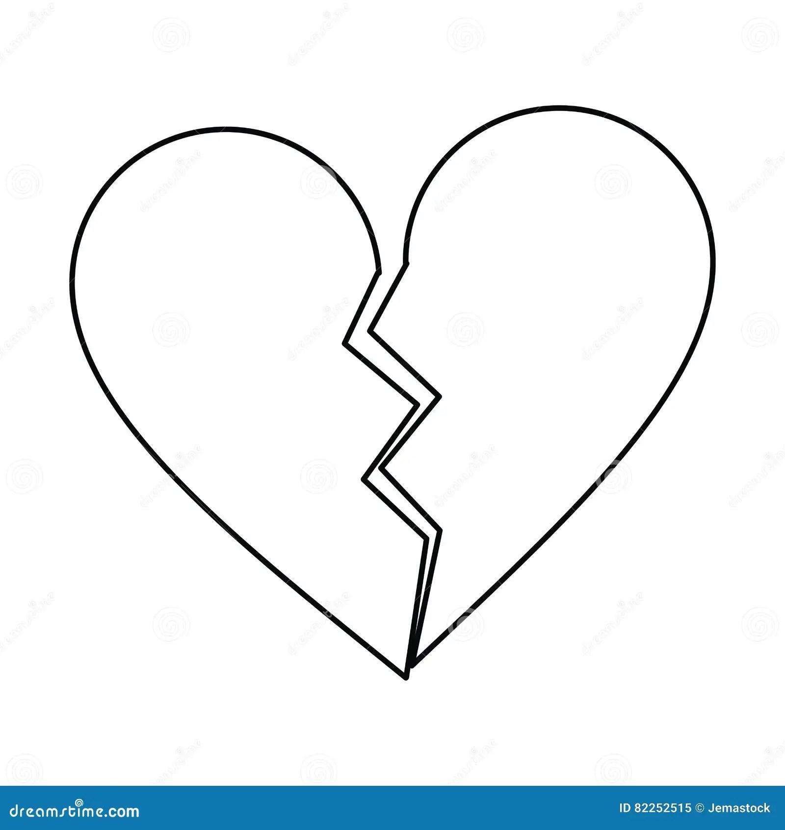 Heart Broken Sad Separation Outline Stock Vector