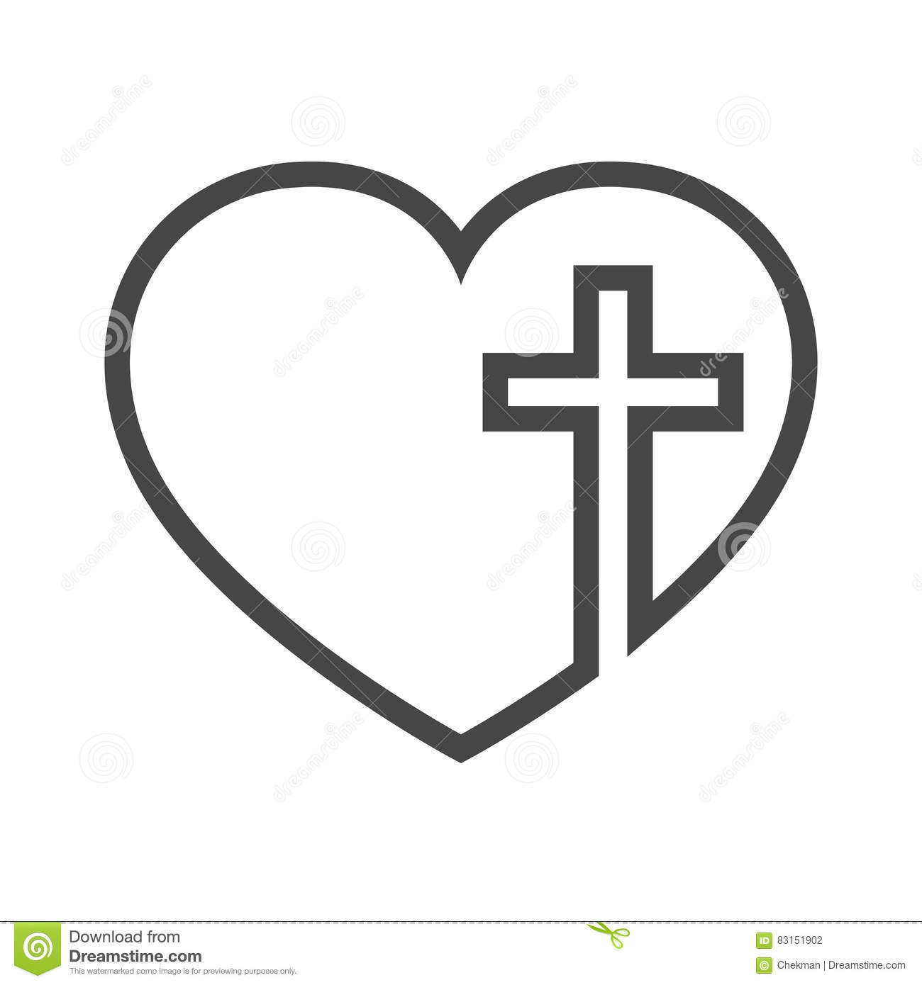 heart with christian cross