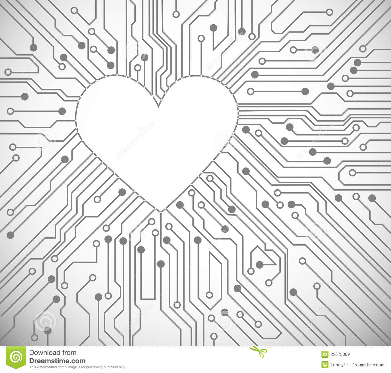 circuit board with in heart shape pattern miscellaneous vectors
