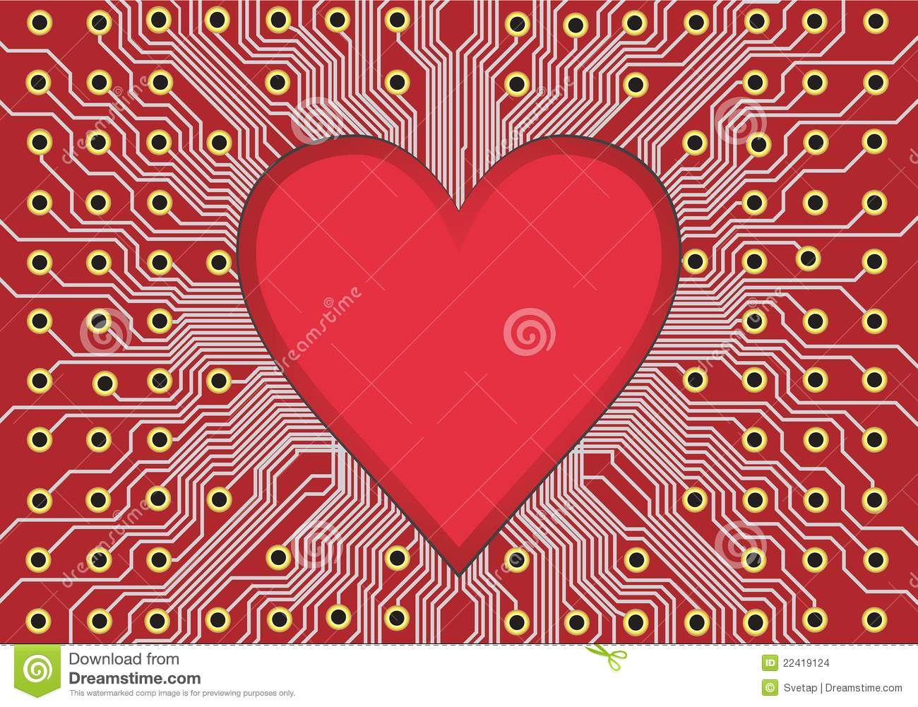 Red Heart And Circuit Board Royalty Free Stock Images Image 1889269